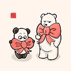 Panda And Polar Bear In Ribbons by Panda And Polar Bear