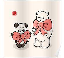 Panda And Polar Bear In Ribbons Poster