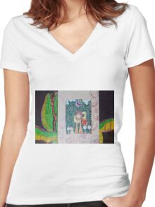 Alligator And The Doughnut Bag Women's Fitted V-Neck T-Shirt