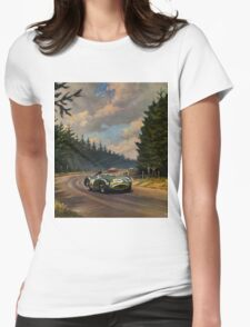Aston Martin DBR1 - Vintage Racing Car Advertising Print - reproduction Womens Fitted T-Shirt