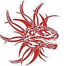 Red Tribal Dinosaur by redqueenself