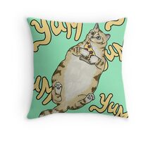 Even Cats Love Pizza Throw Pillow
