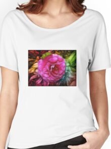 Hot pink silky rose flower Women's Relaxed Fit T-Shirt