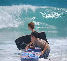 Waves and Kids by Angie  Hoover