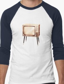Stylish Retro Television (from the Vintage Magazine series) Men's Baseball ¾ T-Shirt