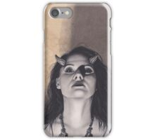 Realism Charcoal Drawing of Woman with Horns, Lilith iPhone Case/Skin