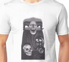Realism Charcoal Drawing of Devil Skull, Black Skull, and Human Skull Unisex T-Shirt