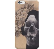 Realism Charcoal Drawing of Reaper with Peony iPhone Case/Skin