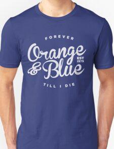 Orange & Blue Forever - White on Colour T-Shirt