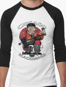 Chicago Blackhawk Skate or Die Men's Baseball ¾ T-Shirt