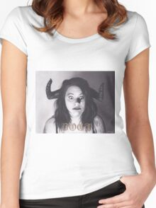 Realism Charcoal Drawing of Funny Faced Girl with Horns Women's Fitted Scoop T-Shirt
