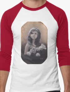 Realism Charcoal Drawing of Little Girl with Flowers Men's Baseball ¾ T-Shirt