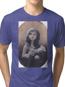 Realism Charcoal Drawing of Little Girl with Flowers Tri-blend T-Shirt