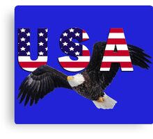 USA Eagle with Stars and Stripes Letters Canvas Print