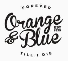 Orange & Blue Forever - Black on White by Oilerland