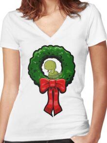 SNAKE WREATH Women's Fitted V-Neck T-Shirt
