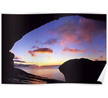 Wave Rock Sunset Poster