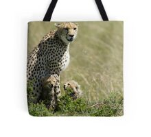 Cheetah mother and two cubs Tote Bag