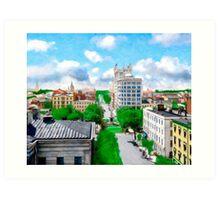 Historic Savannah - Vintage View Over Johnson Square Art Print