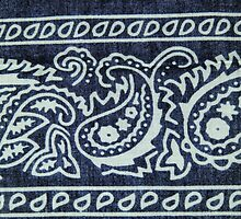 Blue & White Bandana Print by BettyEDuncan