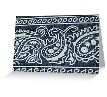 Blue & White Bandana Print Greeting Card
