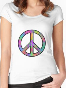 Peace Sign Trippy Women's Fitted Scoop T-Shirt