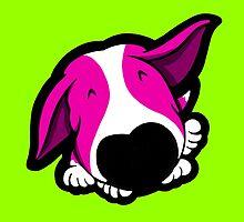 Big Nose Bull Terrier Shocking Pink by Sookiesooker