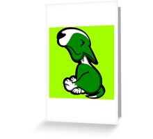 Innocent English Bull Terrier Puppy Green  Greeting Card