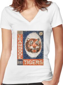 Distressed Detroit Tiger Yearbook 1964 Women's Fitted V-Neck T-Shirt
