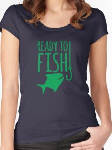 READY TO FISH in green with fishy and hook Women's Fitted Scoop T-Shirt