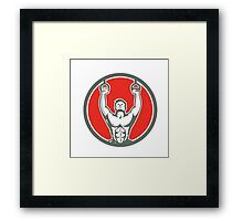 Kipping Muscle Up Cross-fit Circle Retro Framed Print