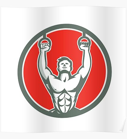 Kipping Muscle Up Cross-fit Circle Retro Poster