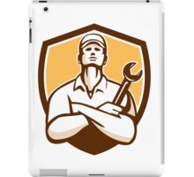 Mechanic Arms Crossed Wrench Shield Retro iPad Case/Skin