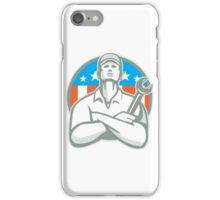 Mechanic Arms Crossed Wrench USA Flag Retro iPhone Case/Skin