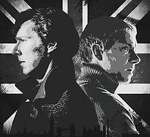 Sherlock Holmes, Sherlock and Watson B&W by yourfriendelle