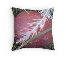 fallen winesap and white feather Throw Pillow