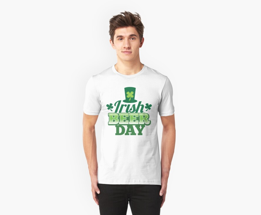 Irish Beer day St Patricks day design with top hat and shamrocks by jazzydevil