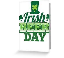 Irish Beer day St Patricks day design with top hat and shamrocks Greeting Card