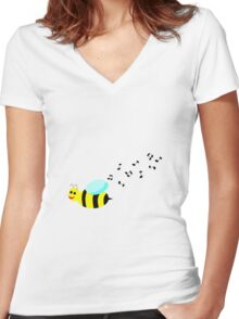 Bee Music Women's Fitted V-Neck T-Shirt