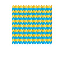 simple yellow and blue knit pattern Photographic Print