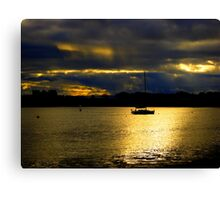 Winter Sky and Sea Scapes with Silhouettes Canvas Print
