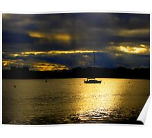 Winter Sky and Sea Scapes with Silhouettes Poster