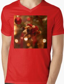 Christmas Pony with Santa Hat and Wings Mens V-Neck T-Shirt