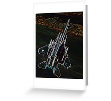 Neon F-15 Fighter Jet Greeting Card