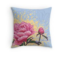 peony flowers Throw Pillow