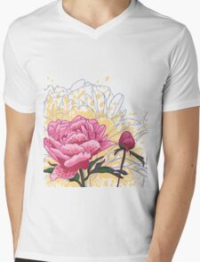 peony flowers Mens V-Neck T-Shirt