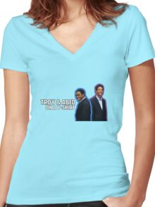 Troy and Abed On A T-Shirt Women's Fitted V-Neck T-Shirt