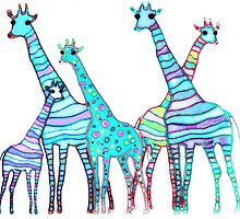 Giraffes in colour by trishie