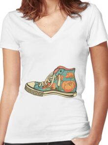colored pattern gym shoes Women's Fitted V-Neck T-Shirt