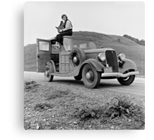 Dorothea Lange atop automobile in California. The car is a 1933 Ford Model C, 4 door Wagon. Canvas Print